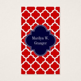 Red White Moroccan #5 Navy Blue Name Monogram Business Card