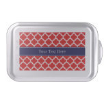 Red White Moroccan #5 Navy Blue Name Monogram Cake Pan