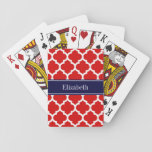 "Red White Moroccan #5 Navy Blue Name Monogram Playing Cards<br><div class=""desc"">Red and White Moroccan Quatrefoil Trellis Pattern #5, Navy Blue Ribbon Name Monogram Label Customize this with your name, monogram or other text. You can also change the font, adjust the font size and font color, move the text, add additional text fields, etc Please note that this is a digitally...</div>"