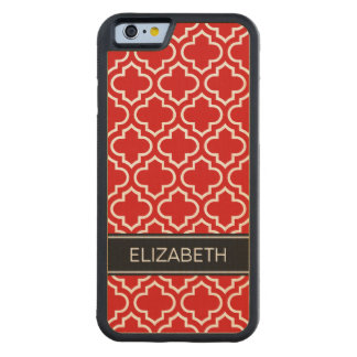 Red White Moroccan #6 Black Name Monogram Carved® Maple iPhone 6 Bumper Case