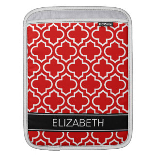Red White Moroccan #6 Black Name Monogram Sleeve For iPads