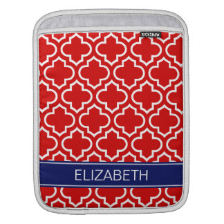 Red White Moroccan #6 Navy Blue Name Monogram iPad Sleeve
