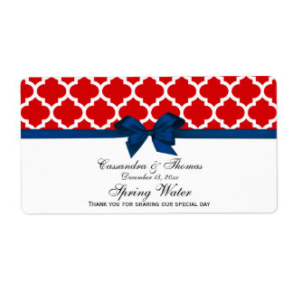 Red, White Moroccan Navy Bow Party Water Label