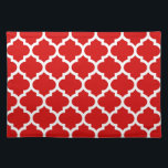 "Red White Moroccan Quatrefoil Pattern #5 Placemat<br><div class=""desc"">Red and White Moroccan Quatrefoil Trellis Pattern #5  