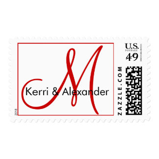 Red White Names Initial Monogram Wedding Postage