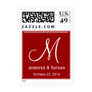 RED & WHITE Names Monogram Date Wedding Stamp