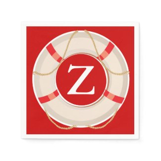 Red White Nautical Buoy Monogram Paper Napkin