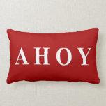 Red White Nautical Sailing Stripes Throw Pillows