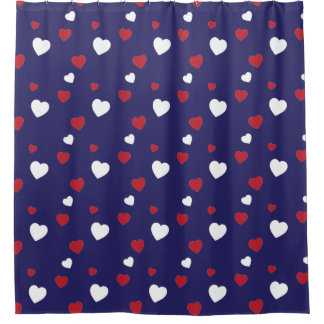 Red, White, Navy Blue Hearts Pattern Shower Curtain