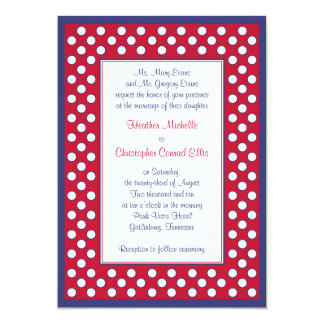 Red, White, & Navy Wedding Invitation - Patriotic