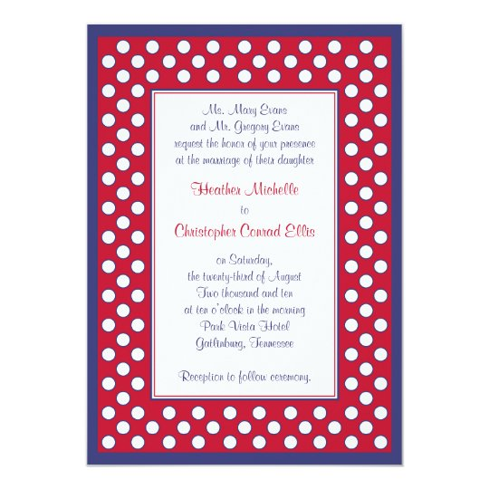 Red, White, & Navy Wedding Invitation - Patriotic | Zazzle.com Red And White Wedding Invitations Templates