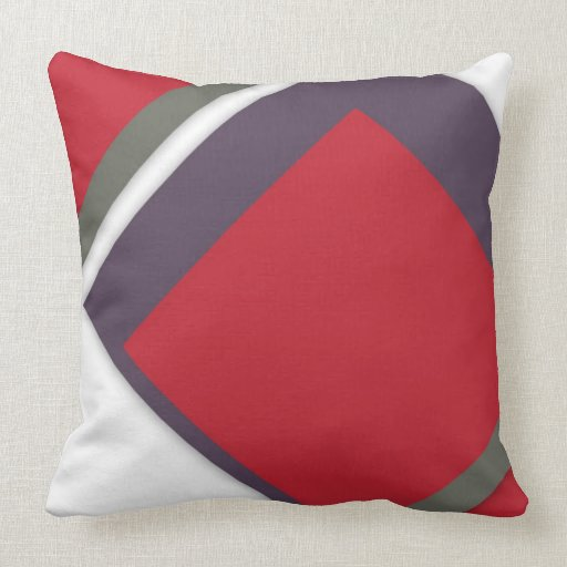 Red+White Offside Shapes Abstract Modern Cushion Pillows Zazzle