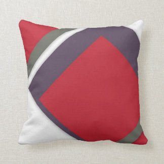 Red+White Offside Shapes Abstract Modern Cushion Throw Pillow