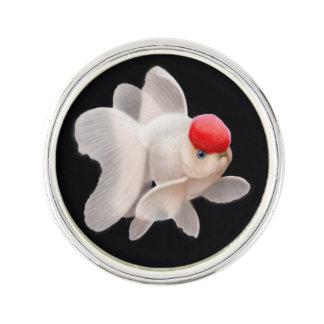 Red White Oranda Fantail Goldfish Lapel Pin
