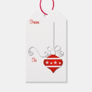 Red White Ornament Gift Tags