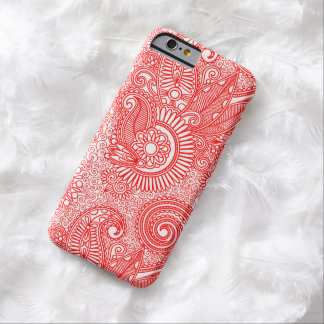 Red & White Ornate Vintage Floral Paisley Barely There iPhone 6 Case