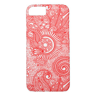 Red & White Ornate Vintage Floral Paisley iPhone 8/7 Case