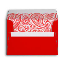 Red White Paisley Floral Pattern Envelope