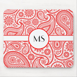Red White Paisley Floral Pattern Mouse Pad