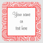 Red White Paisley Floral Pattern Sticker