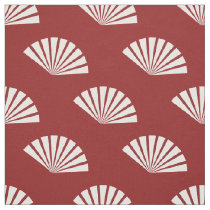 Red white paper fans oriental pattern fabric