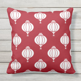 red white paper lanterns oriental outdoor pillow