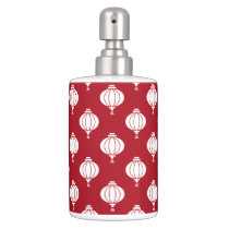 red white paper lanterns oriental pattern bathroom set