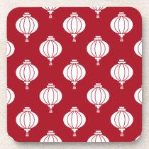 red white paper lanterns oriental pattern beverage coaster