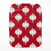 red white paper lanterns oriental pattern burp cloth
