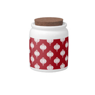 red white paper lanterns oriental pattern candy dishes