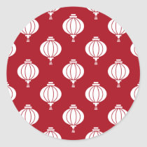 red white paper lanterns oriental pattern classic round sticker