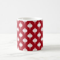 red white paper lanterns oriental pattern coffee mug