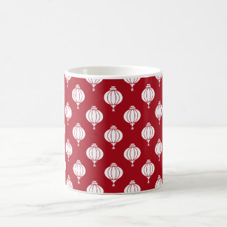 red white paper lanterns oriental pattern coffee mug