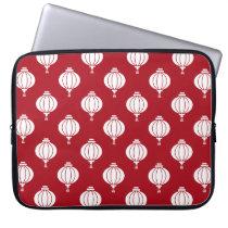 red white paper lanterns oriental pattern computer sleeve