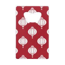 red white paper lanterns oriental pattern credit card bottle opener