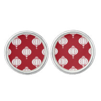 red white paper lanterns oriental pattern cufflinks