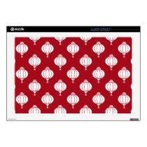 red white paper lanterns oriental pattern decals for laptops