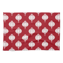 red white paper lanterns oriental pattern hand towel