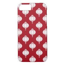 red white paper lanterns oriental pattern iPhone 7 case