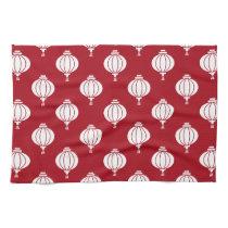 red white paper lanterns oriental pattern kitchen towels
