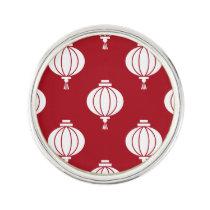 red white paper lanterns oriental pattern lapel pin
