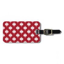 red white paper lanterns oriental pattern luggage tag