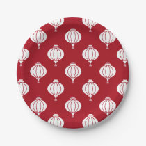 red white paper lanterns oriental pattern paper plate