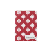 red white paper lanterns oriental pattern passport holder