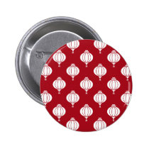 red white paper lanterns oriental pattern pinback button