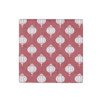 red white paper lanterns oriental pattern stone magnet