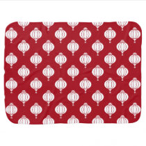 red white paper lanterns oriental pattern stroller blanket