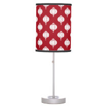 red white paper lanterns oriental pattern table lamp