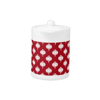 red white paper lanterns oriental pattern teapot