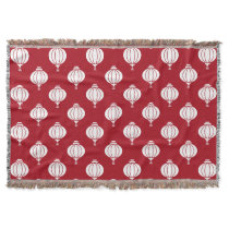 red white paper lanterns oriental pattern throw blanket